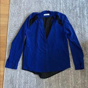 Sandro blue long sleeve blouse